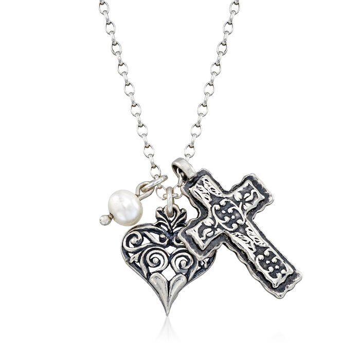 """Cultured Pearl Heart and Cross Charm Necklace in Sterling Silver. 18"""", , default"""