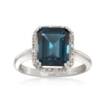 3.50 Carat London Blue Topaz Ring With Diamond Accents in Sterling Silver, , default