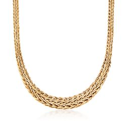 14kt Yellow Gold Graduated Wheat Necklace, , default