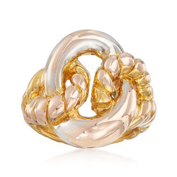 C. 2000 Vintage Intertwining Loop Ring in 14kt Two Tone Gold, , default