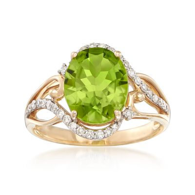 3.00 Carat Peridot Ring with .28 ct. t.w. Diamonds in 14kt Yellow Gold, , default