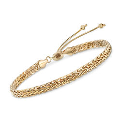 14kt Yellow Gold Wheat Chain Bolo Bracelet, , default