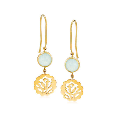 Italian 1.50 ct. t.w. Aquamarine Floral Drop Earrings in 14kt Yellow Gold