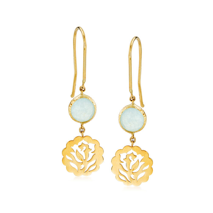 Italian 1.50 ct. t.w. Aquamarine Floral Drop Earrings in 14kt Yellow Gold, , default