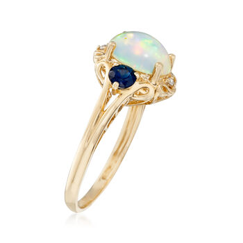 Opal and .50 ct. t.w. Sapphire Ring with Diamond Accents in 14kt Yellow Gold
