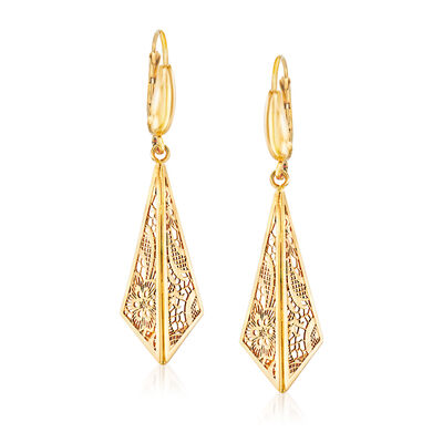 Italian 14kt Yellow Gold Filigree Triangle Drop Earrings, , default