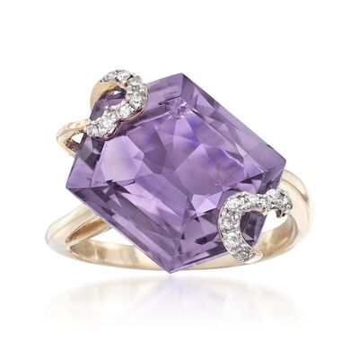 8.50 Carat Amethyst and .10 ct. t.w. Diamond Swirl Ring in 14kt Yellow Gold, , default
