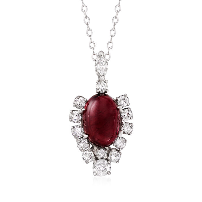 """C. 1970 Vintage Pink Tourmaline and 1.20 ct. t.w. Diamond Pendant Necklace in 14kt White Gold. 18"""""""