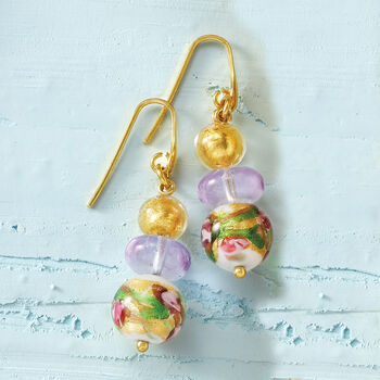 Italian Multicolored Murano Glass Bead Earrings in 18kt Gold Over Sterling