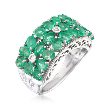 3.10 ct. t.w. Emerald Floral Ring with Diamond Accents in Sterling Silver, , default