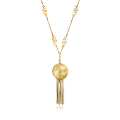 C. 1980 Vintage 18kt Yellow Gold Tassel Necklace, , default