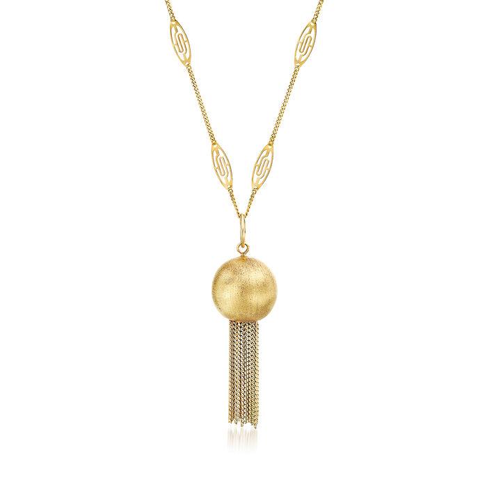 "C. 1980 Vintage 18kt Yellow Gold Tassel Necklace. 23"", , default"
