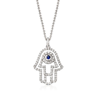 .36 ct. t.w. Diamond Hamsa Hand Pendant Necklace with Sapphire Accent in 14kt White Gold