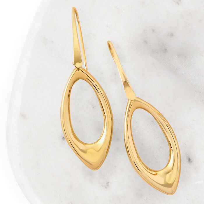 14kt Yellow Gold Open Marquise Drop Earrings
