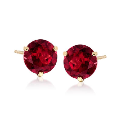 3.30 ct. t.w. Rhodolite Garnet Stud Earrings in 14kt Yellow Gold , , default