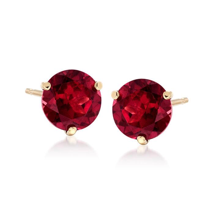 3.30 ct. t.w. Rhodolite Garnet Stud Earrings in 14kt Yellow Gold, , default