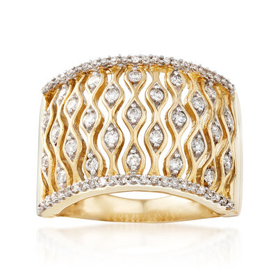 .50 ct. t.w. Diamond Wave Ring in 14kt Yellow Gold, , default