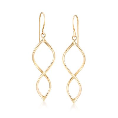 14kt Yellow Gold Open Spiral Drop Earrings, , default