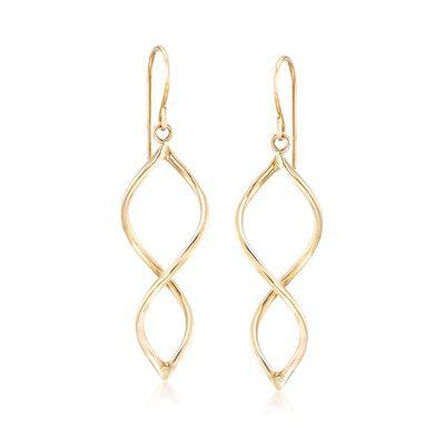 14kt Yellow Gold Open Spiral Drop Earrings, , default