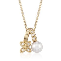 "Mikimoto 5.5mm A+ Akoya Pearl Floral Pendant Necklace With Diamond Accents in 18kt Yellow Gold. 18"", , default"