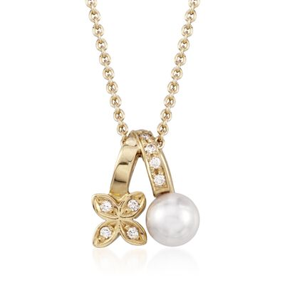 Mikimoto 5.5mm A+ Akoya Pearl Floral Pendant Necklace With Diamond Accents in 18kt Yellow Gold, , default