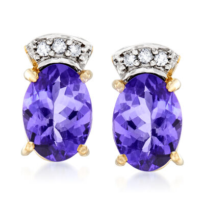 1.40 ct. t.w. Tanzanite Stud Earrings in 14kt Yellow Gold