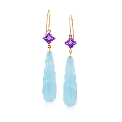 27.00 ct. t.w. Aquamarine and 1.10 ct. t.w. Amethyst Drop Earrings in 14kt Yellow Gold