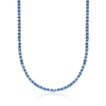 """19.80 ct. t.w. Tanzanite Tennis Necklace in Sterling Silver. 18"""", , default"""