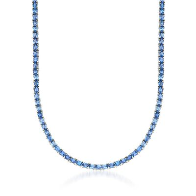 19.80 ct. t.w. Tanzanite Tennis Necklace in Sterling Silver, , default