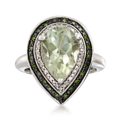 3.60 ct. t.w. Green Prasiolite and .19 ct. t.w. Diamond Pear-Shaped Ring in Sterling Silver, , default