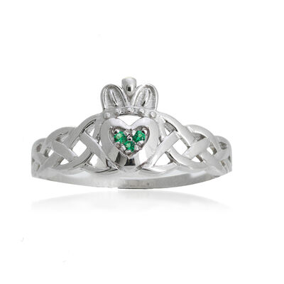 14kt White Gold Braided Claddagh Ring with Emerald Accents, , default