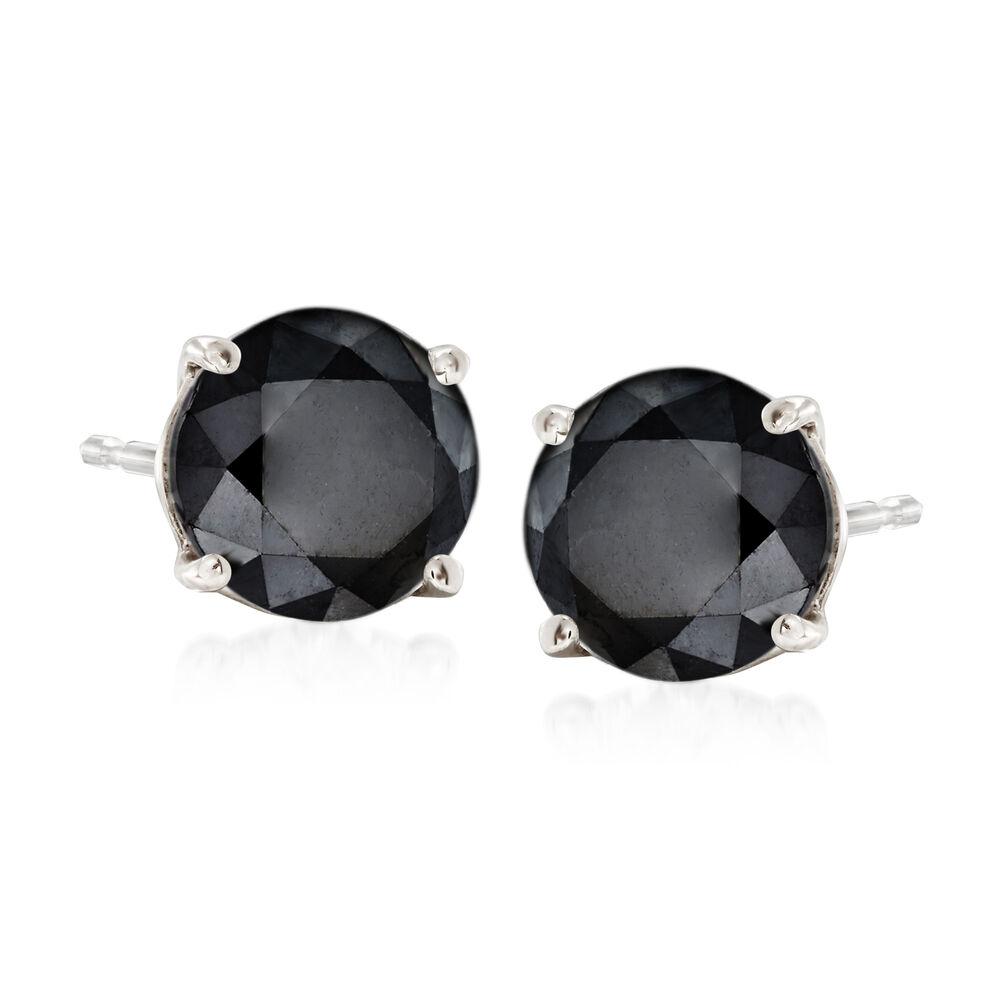 T W Black Diamond Stud Earrings In 14kt White Gold Default