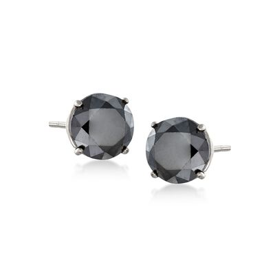 2.00 ct. t.w. Black Diamond Stud Earrings in 14kt White Gold, , default