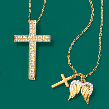.28 ct. t.w. Diamond Cross Pendant Necklace in 14kt Yellow Gold, , default
