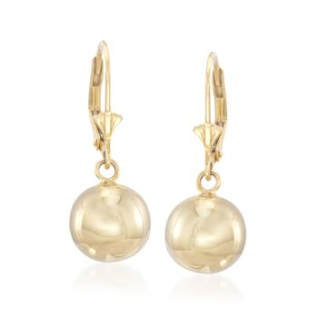 10mm 14kt Yellow Gold Over Sterling Silver Ball Drop Earrings, , default