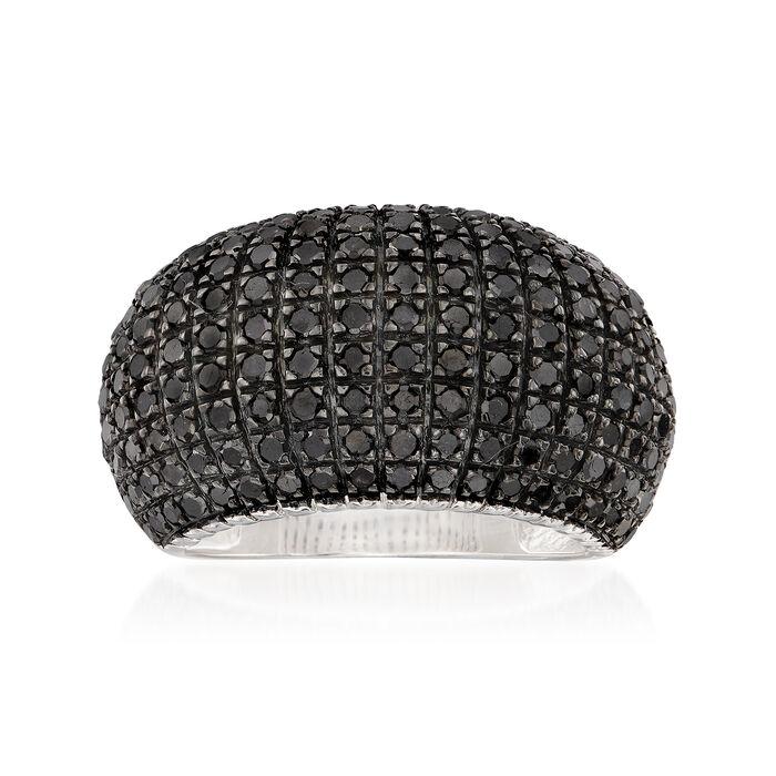 2.00 ct. t.w. Black Diamond Multi-Row Dome Ring in Sterling Silver