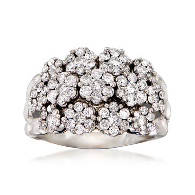 C. 1980 Vintage 2.20 ct. t.w. Diamond Flower Ring in 14kt White Gold, , default