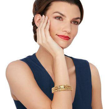 "Italian 18kt Yellow Gold Three-Row Rolo Bracelet. 8"", , default"