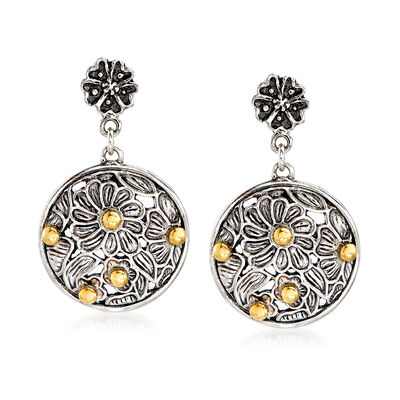 Sterling Silver and 14kt Yellow Gold Floral Drop Earrings