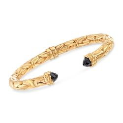 "Italian Black Onyx Byzantine Cuff Bracelet in 18kt Gold Over Sterling. 7"", , default"