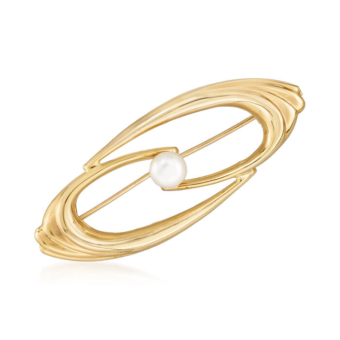 6.5mm Cultured Pearl Swirl Pin in 14kt Yellow Gold. Pin, , default
