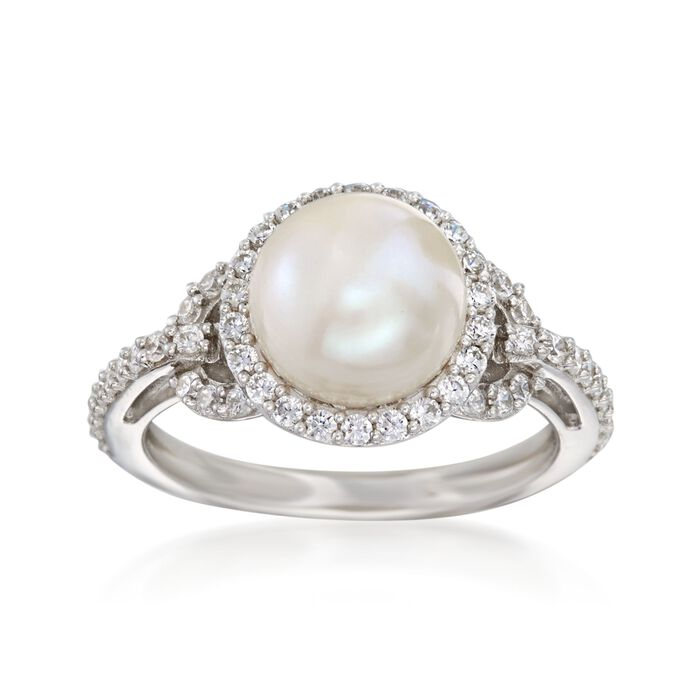 8.5-9mm Cultured Pearl Ring with .50 ct. t.w. CZs in Sterling Silver, , default