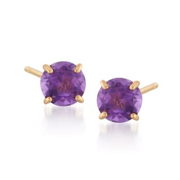 .40 ct. t.w. Round Amethyst Stud Earrings in 14kt Yellow Gold, , default