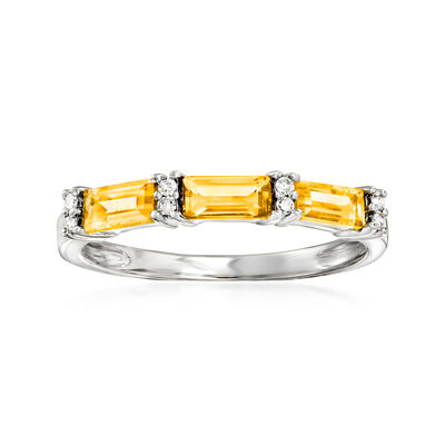 .65 ct. t.w. Citrine Ring with Diamond Accents in 14kt White Gold