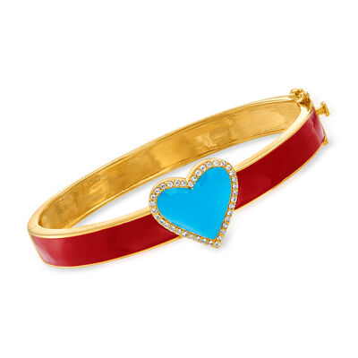 1.10 ct. t.w. White Topaz and Enamel Heart Bangle Bracelet in 18kt Gold Over Sterling Silver
