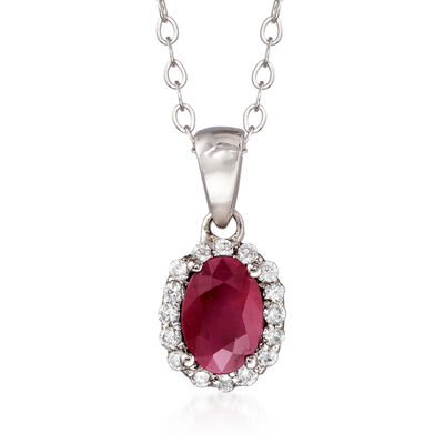 C. 2000 Vintage .95 Carat Ruby and .25 ct. t.w. Diamond Pendant Necklace in 14kt White Gold