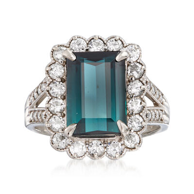 C. 1980 Vintage 3.65 Carat Green Tourmaline and .84 ct. t.w. Diamond Ring in Platinum