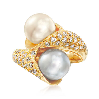 C. 1990 Vintage 8.5mm Cultured Pearl and .60 ct. t.w. Bypass Ring in 18kt Yellow Gold