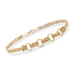 14kt Yellow Gold Two-Strand Rope and Circle-Link Bracelet, , default
