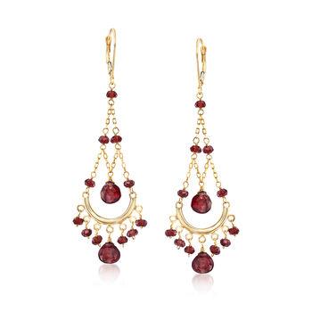 22.00 ct. t.w. Garnet Chandelier Earrings in 14kt Yellow Gold, , default